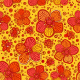 Orange flowers vector doodles seamless pattern