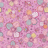Vintage colors vector flowers seamless pattern