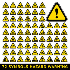 Triangular Warning Hazard Symbols. Big yellow set