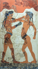 Boxing boys fresco from Akrotiri, Santorini, 1550 BC