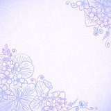 Violet ornate flowers romantic vector card