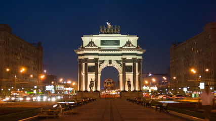 Triumphal arch at night in Moscow, Russia