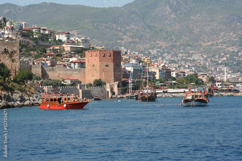 Alanya Harbor with Red Tower and Tourist Yachts