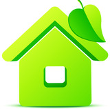 Green eco house 3d vector icon
