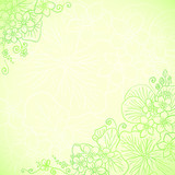 Light green ornate flowers background