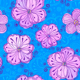 Lilow doodle flowers vector seamless pattern