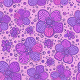 Violet doodle ornate flowers vector