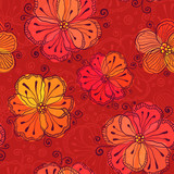 Red doodle flowers vector seamless pattern