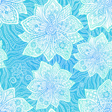 Blue and white ornate vector flowers pattern