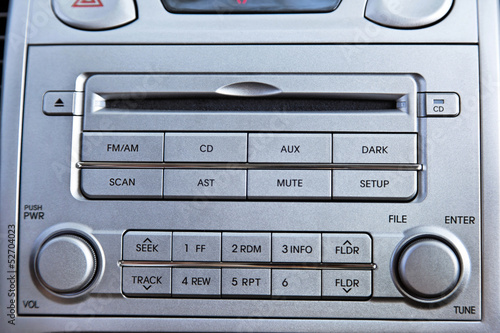 Car Radio + CD Player Close Up