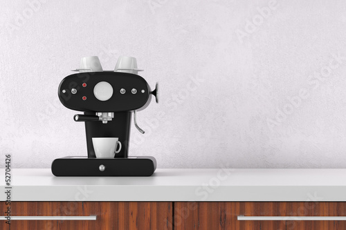 Espresso Maschine on white wall