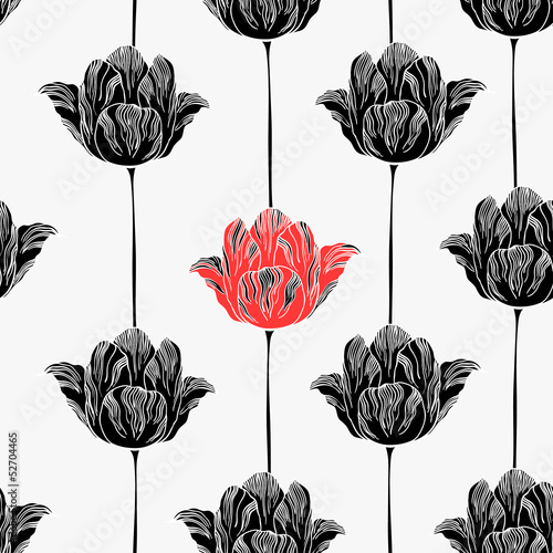 Seamless pattern with tulips. © maritime_m