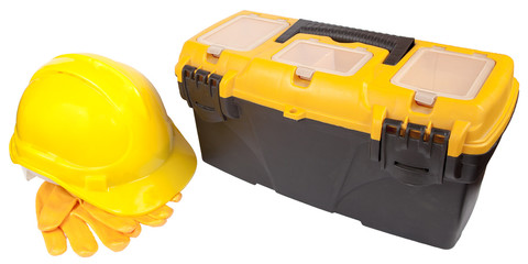 helmet, protective gloves and toolbox (with clipping paths)
