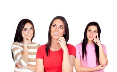 Three pensive brunette girl