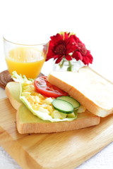 egg and vegetable sandwiches with flower on background