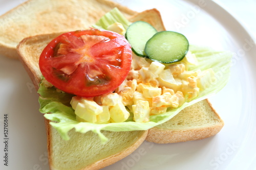 egg and vegetable sandwiches