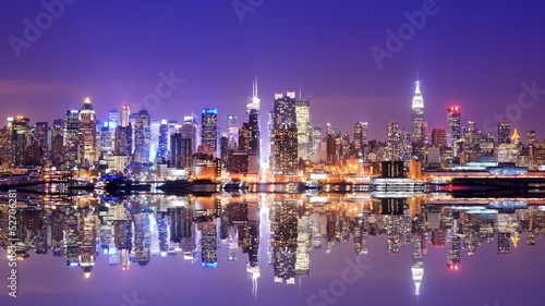 Foto Spatwand New York Manhattan Skyline with Reflections