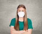 Allergic teen with face mask poster
