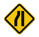 Road narrows merge right sign isolated on a white background poster