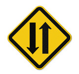Two way traffic sign,  illustration