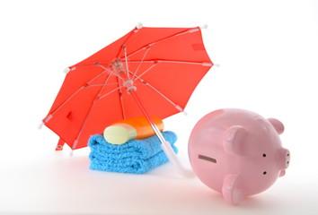 Sparen Sparschwein Sonnenschirm,Urlaub