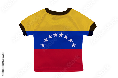 Small shirt with Venezuela flag isolated on white background