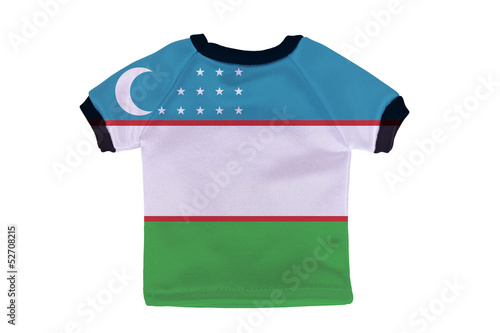 Small shirt with Uzbekistan flag isolated on white background