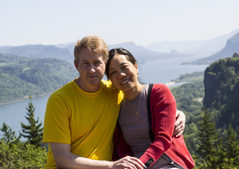 Happy Mature Interracial Couple on Travel