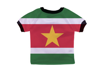 Small shirt with Suriname flag isolated on white background