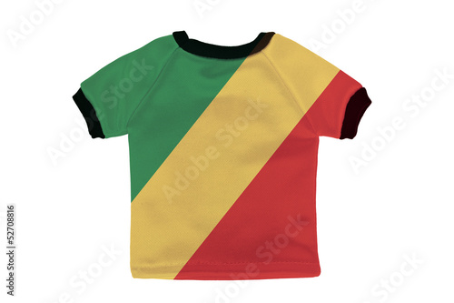 Small shirt with Republic of the Congo flag isolated on white ba