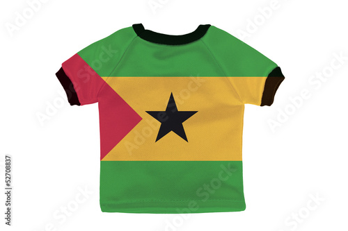 Small shirt with Sao Tome and Principe flag isolated on white ba