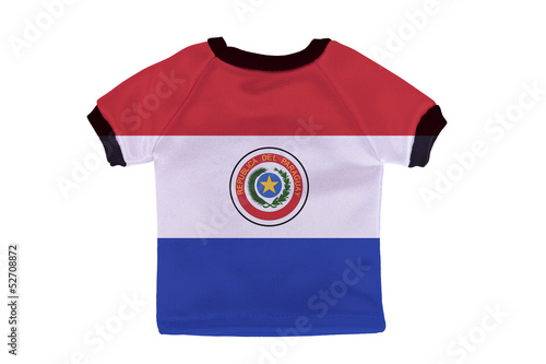 Small shirt with Paraguay flag isolated on white background