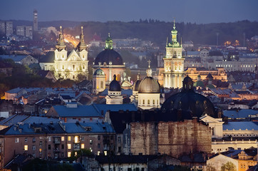 Historic center of Lvov city at night close up