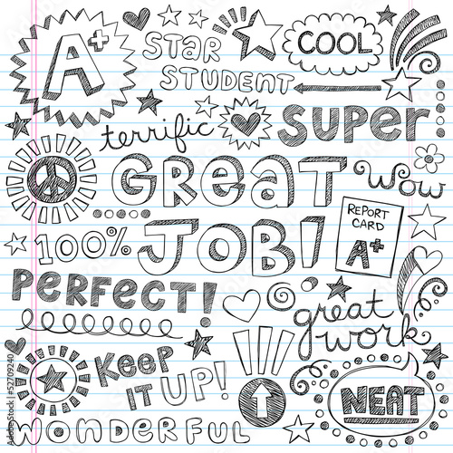Great Job Super Student Praise Phrases Back to School Doodles