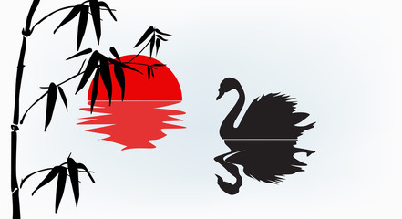 swan and bamboo at red sunset
