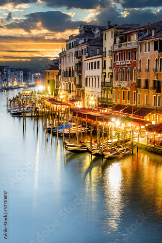 Fotobehang Venetie Grand Canal at night, Venice