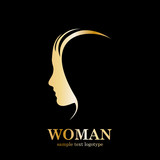 Golden Vector logo Profile of woman