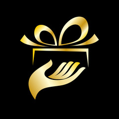 Vector golden 	Logo give a gift