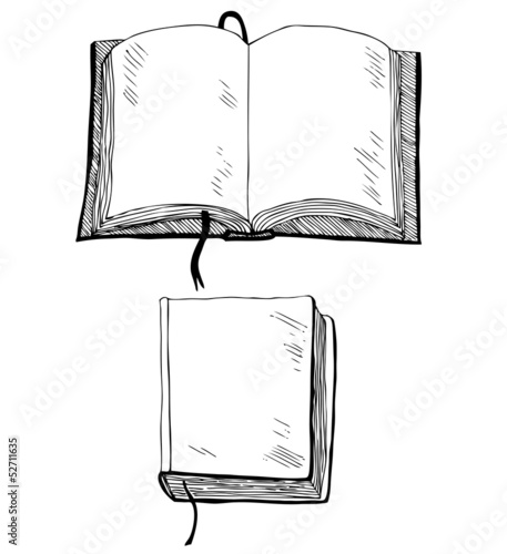 Sketch of book with empty cover and leafs