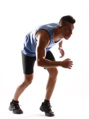 Hombre atleta corredor preparado para correr