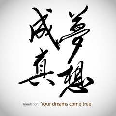Chinese calligraphy, sentence: Your dreams come true