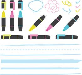 蛍光ペンとライン