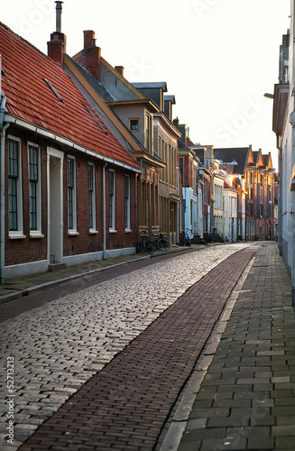 street in Groningen city at sunrise