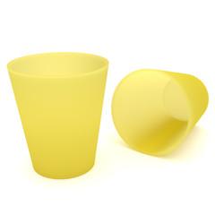 2 Gelbe Trinkbecher