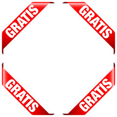 "4 Banner ""Gratis"" rot"