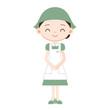 緑の制服の女性販売員
