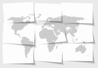 World map concept of separated note papers background