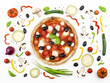 Italian pizza with its ingredients