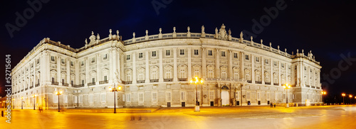 Night panorama of Royal Palace of Madrid