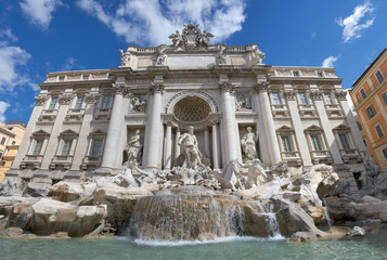 Rome Trevi Fountain sunny view